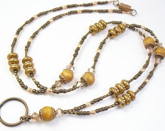 Beaded Lanyard - Copper Crystal and Glass Pearl Beaded Lanyard, ID Badge Holder, ID Necklace Holder, Badge Clip Necklace