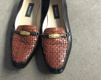 The Vintage Bally Tan and Black Quilted Leather Loafers SIZE 7.5