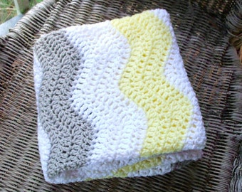 Crochet Baby Blanket - Chevron Blanket - Yellow Gray Nursery - Chevron Baby Blanket - Baby Bedding - Crochet Blanket - Baby Blankets