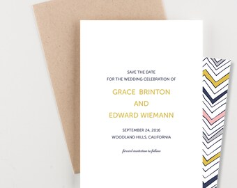 Colorful Chevron Save The Date, Wedding Announcement or Bridal Shower