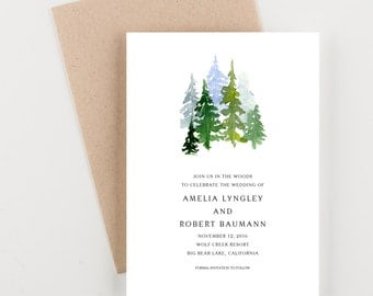 In The Woods, Mountain Setting Save The Date, Bridal Shower, Wedding Invitation