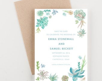 Succulents Save The Date, Bridal Shower, Wedding Invitation