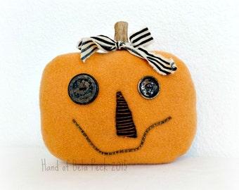 Primitive Halloween Pumpkin - Fall Pumpkin Decor - Pumpkin Head - Vintage Wool Pumpkin - Cashmere Pumpkin - Jack-O-Lantern - Primitive Fall