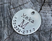 Initial dog ID tag for pet - Monogram - vintage antique flair