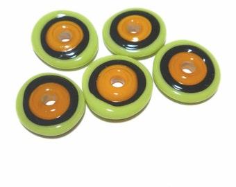 DISCS 34 Lampwork Bead Set Handmade - Lime Green Orange Black  Discs  - 5 Beads