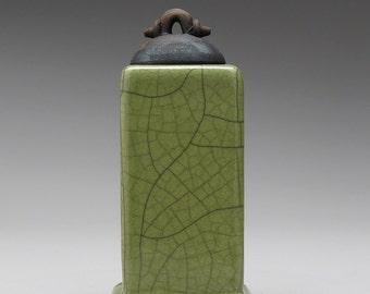 Raku Ceramic Box, handmade, olive green, home decor ,pottery
