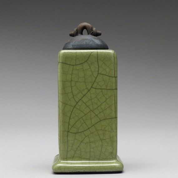 Raku Ceramic Box Handmade Olive Green Home Decor Pottery
