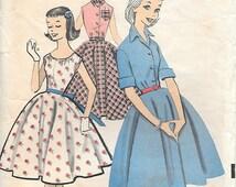 Advance 8544 1950s Tween Shirtwaist Dress Vintage Sewing Pattern Bust 33 Sleeveless