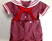 Little Boy's Red Plaid Sailor Outfit - Size 6 mo