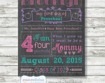 Girl 1st Day of School Chalkboard Sign Poster, Preschool, Pre-K, Kindergarten, Any Grade, Pink, Aqua, Purple /Personalized/Digital/Printable