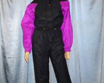 Vintage -80's - Raeurks  - Water Proof - Color Block - Black/Purple - Hooded - Snowboard - Jumpsuit - Ski Jumper - Ladies Size Small