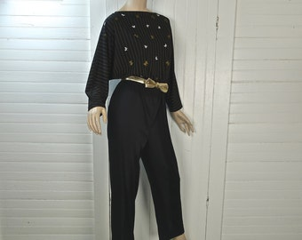 70s / 80s Jumpsuit in Butterflies by Alfred Shaheen- Studio 54- Black & Gold- 1970s Disco / New Wave