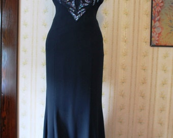 1990s Midnight Blue Prom or Evening Gown, Beaded Bodice, Halter Style, Size 0 XS