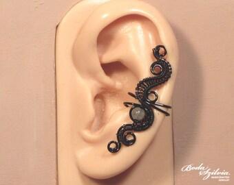 black & LABRADORITE EAR CUFF -  wire wrapped ear cuff, adjustable ear cuff, no piercing ear cuff, gothic ear cuff, gothic jewelry, ear wrap