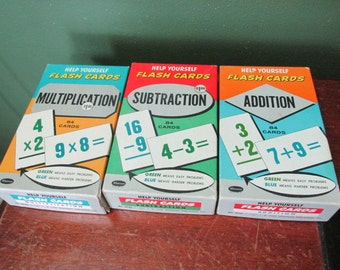 Flash Cards Addition Subtraction and Multiplication 3 Boxes from 1959
