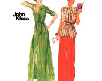 1970s Maxi Dress Tunic Pants Pattern Butterick 4809 Button Front Cover Up Dress Top Trouser John Kloss Designer Women Sewing Pattern Bust 34