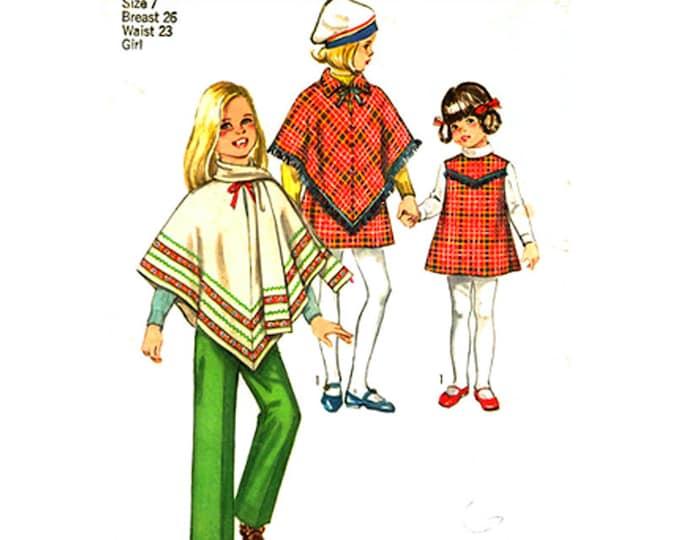 Girls Retro Poncho Jumper Pants Pattern Simplicity 8944 Sleeveless Dress, Scarf Size 7