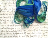 the E L E C T R O … Electro bright true electric Blue on top of bold lime Green clip in hair accent 100% human hair