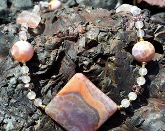 ROCKFORD PEACH Necklace (Crab Fire Agate, Rose Quartz, Lepidolite, Czech Crystal)