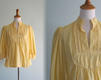 Vintage Yellow Gingham Blouse - 70s Yellow Top Young Innocent by Arpeja - Vintage 1970s Blouse S M
