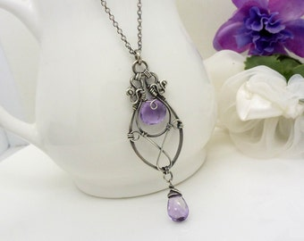 Sterling silver amethyst necklace, oxidized silver wire wrapped jewelry, handmade jewelry, purple teardrop amethyst pendant
