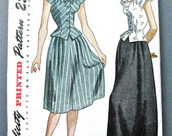 1940s Misses' and Women's Two-Piece Daytime and Evening Dress Fitted Bodice Simplicity 1932 Vintage Sewing Pattern Bust 34