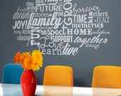 family love word cloud vinyl wall decal, words about family, love, wall sticker art