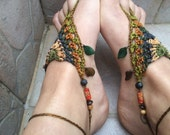 Wild forest crochet barefoot sandals