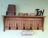 """36"""" Solid Oak Coat Rack With Black Fancy English Hooks Wood Wall Shelf"""