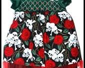 Girls Rockabilly Dress in Green Velvet  Skulls, Bones and Roses ........Size 5-6 girls