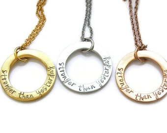 Stronger Than Yesterday Necklace - Strength Necklace - Motivation Necklace - Stronger Necklace - Stainless Steel Fitness Necklace - Coping