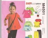 Toddler tops dress pants McCalls 4501 Long or Short Sleeve Top, Dress Pattern, Long or Short Pants, Bag Pattern, Girls Pattern 1 2 3 4 Uncut