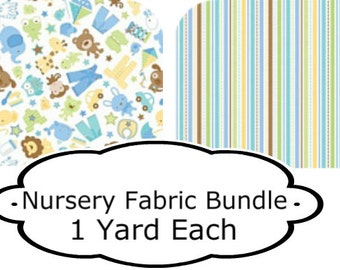 Snips and Snails Animal Fabric Bundle, Two yards total,  Riley Blake Designs,Quilt Fabric, Nursery Fabric