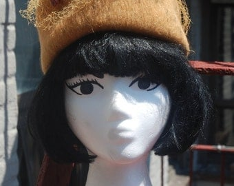 Vintage 1960s Henry Pollak Mustard Yellow Formal Fall Wool Hat