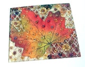 Maple leaf card - fabric art card - autumn card - beaded patchwork  - handmade card - 5 inch square card - stitched card - art quilt