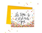 Boxed Set of It's Confetti Time Greeting Cards, Handwritten Typography, Celebration Card