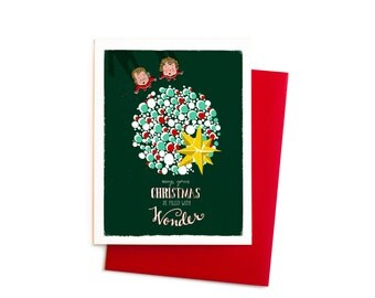 Christmas Card with Boy/Girl Twins Christmas Tree in Forest Green and Red