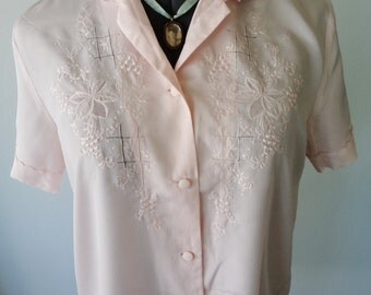 pink 50s blouse, vintage pink top, embroidered top, boho chic top, bohemian clothing, STUNNING embroidery, pink 50s top TLC