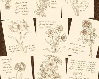 THE BEATITUDES 9 (Nine) Piece Set Of Hand Written Calligraphy Prints VintageVerses Christian Wall Art Natural Parchment Sepia Matthew 5:3-12