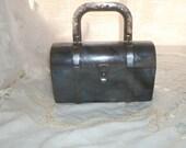 1940s Grey Pearl Semi Translucent Lucite Box Style Purse