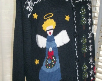 Vintage 1980s Rare Christmas Cardigan Sweater Size M Exec Cond Very Cute Angels Snowflakes Christmas Trees