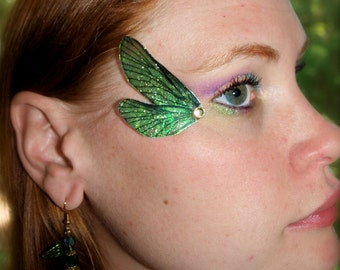 Fairy Wing Eye Decorations Dragonfly green wings  gold glitter with silver jewel - pair
