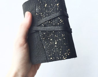 Galaxy Leather Journal in Black & Gold -Nova- Made to Order Personalized Journal Leatherbound Sketchbook Travel Diary Outer Space Gifts