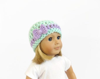 Mint Green Doll Hat, 18 Inch Doll Clothes, Crochet Doll Beanie, Toys