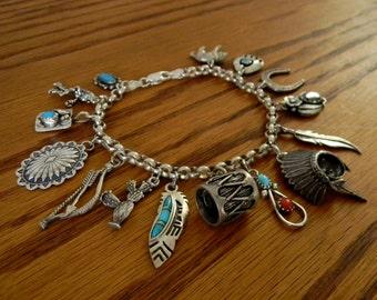 Vintage Sterling Silver Southwestern Charm Bracelet - Native American Theme