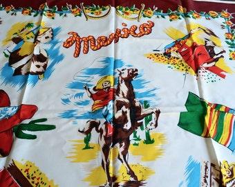Vintage Mexico Souvenir Scarf - 1950's Ranchero Matador with Glittered Accents - Burgundy Border