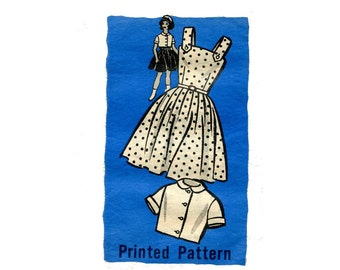 1960s Girls Sundress and Jacket Pattern Full Skirt Button Shoulder Strap Summer Dress Short Jacket Mail Order Size 8 Vintage Sewing Pattern