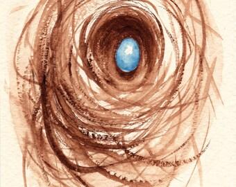 Nesting - original watercolor painting