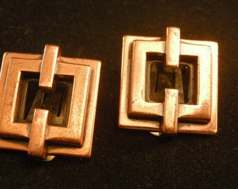 Vintage Signed Renoir Geometric Copper clip Back Earrings