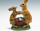 Chalkware Dancing Bunnies Cast using a 1920's Anton Reiche Mold Hand Painted Vaillancourt Style Easter Decoration